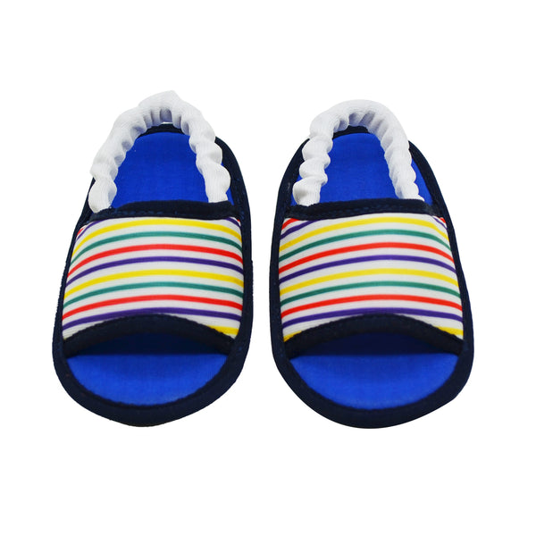 STRIPED IN BLUE TOOTSIES - KazarMax Anti-Skid Breathable Soft Comfortable Blue New Born Boy Baby Sandal Booties