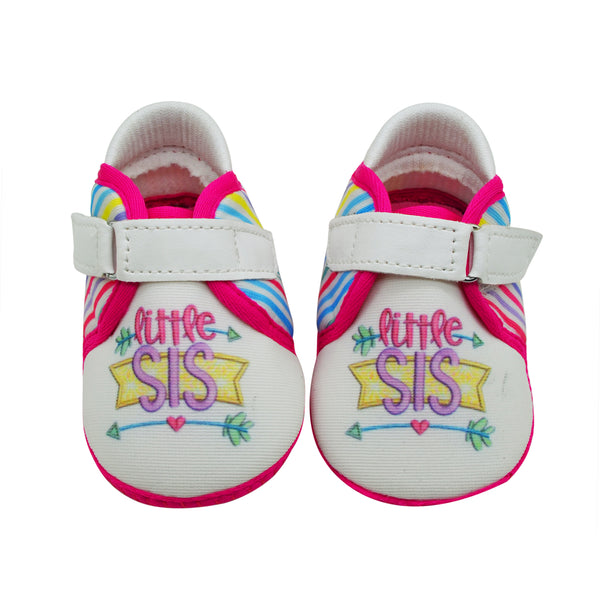 LIL SIS TOOTSIES - KazarMax Anti-Skid Breathable Soft Comfortable Pink White New Born Baby Girl Shoes/Booties
