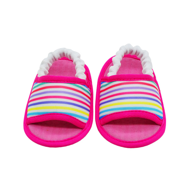 STRIPED IN PINK TOOTSIES - KazarMax Anti-Skid Breathable Soft Comfortable Pink New Born Girl Baby Sandal Booties