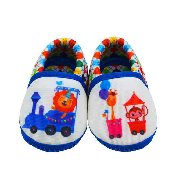 ANIMAL TRAIN TOOTSIES - KazarMax Anti-Skid Breathable Soft Comfortable Blue White New Born Baby Boy Mocassin Shoes/Booties