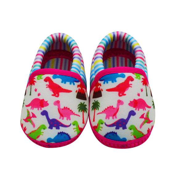 DINO DARLING TOOTSIES - KazarMax Anti-Skid Breathable Soft Comfortable Pink Multicolour New Born Baby Girl Mocassin Shoes/Booties