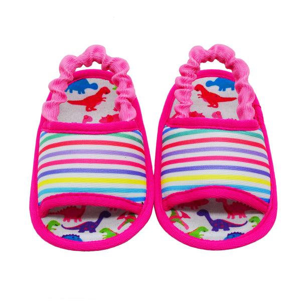 DINO STRIPED TOOTSIES - KazarMax Anti-Skid Breathable Soft Comfortable Pink White New Born Girl Baby Sandal Booties