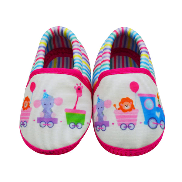 ANIMAL TRAIN TOOTSIES - KazarMax Anti-Skid Breathable Soft Comfortable Pink White New Born Baby Girl Mocassin Shoes/Booties