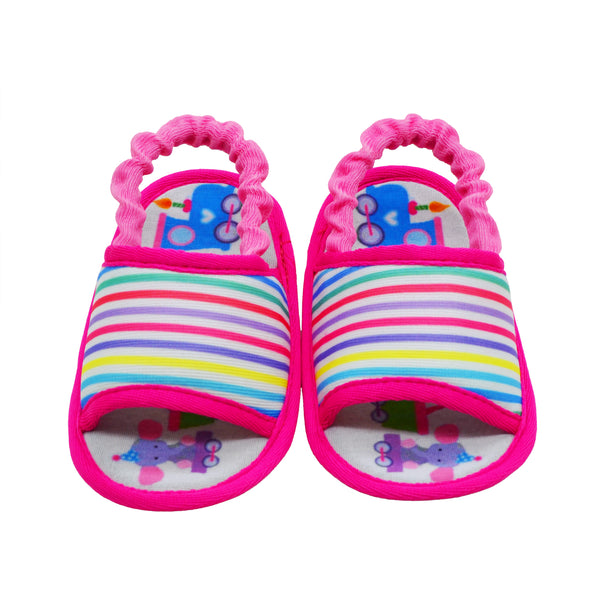 STRIPED SLINGBACK TOOTSIES - KazarMax Anti-Skid Breathable Soft Comfortable Pink White New Born Girl Baby Sandal Booties
