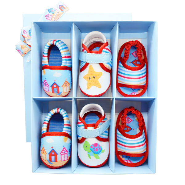 AT THE BEACH UNISEX TOOTSIES COMBO - KazarMax Anti-Skid Breathable Soft & Comfortable Blue Red Nautical New Born Baby Booties