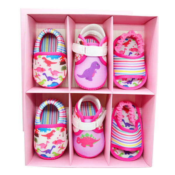 DINO DARLING GIRL'S TOOTSIES COMBO - KazarMax Anti-Skid Breathable Soft & Comfortable Pink Purple New Born Baby Booties