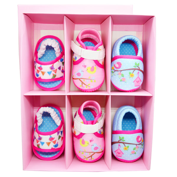 BYE BYE BIRDIE GIRL'S TOOTSIES COMBO - KazarMax Anti-Skid Breathable Soft & Comfortable Pink Blue New Born Baby Booties