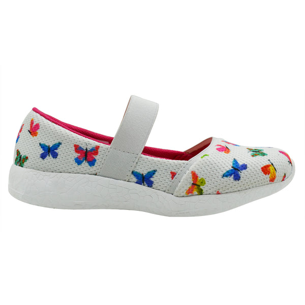 FLUTTER BY - KazarMax Girl's Memory Foam White Multicolour Butterfly Printed Ballerina/Bellies/Slipon Shoes