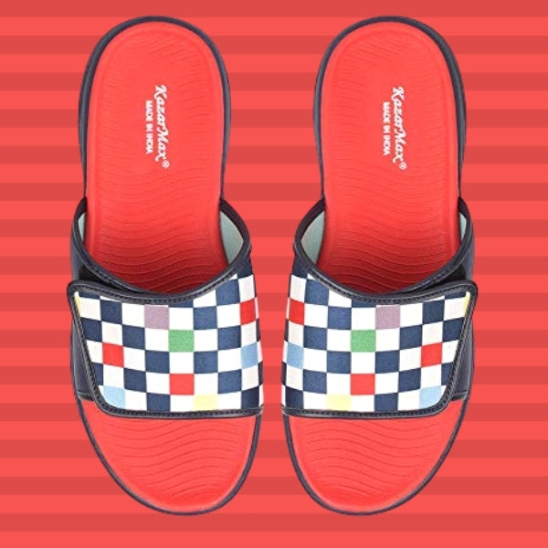 Checkered : KazarMax Men's Navy Blue-Red Slides/Slipons