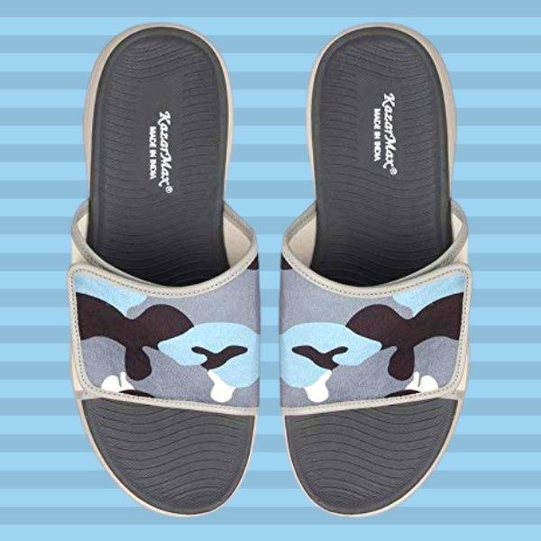Incognito: KazarMax Men's Grey-White Camo Slides/Slipons