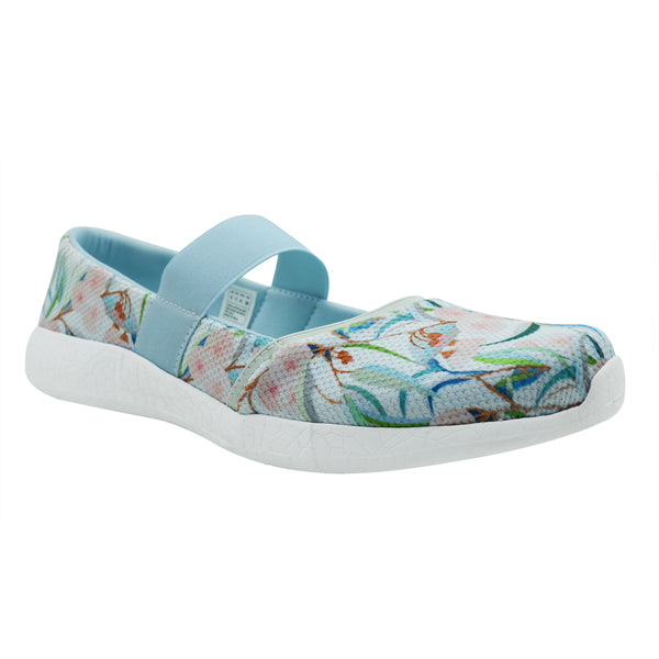 AUSTERE - KazarMax Women's & Girl's Light Blue Floral Printed Memory Foam Ballerinas/Bellies/Slipons