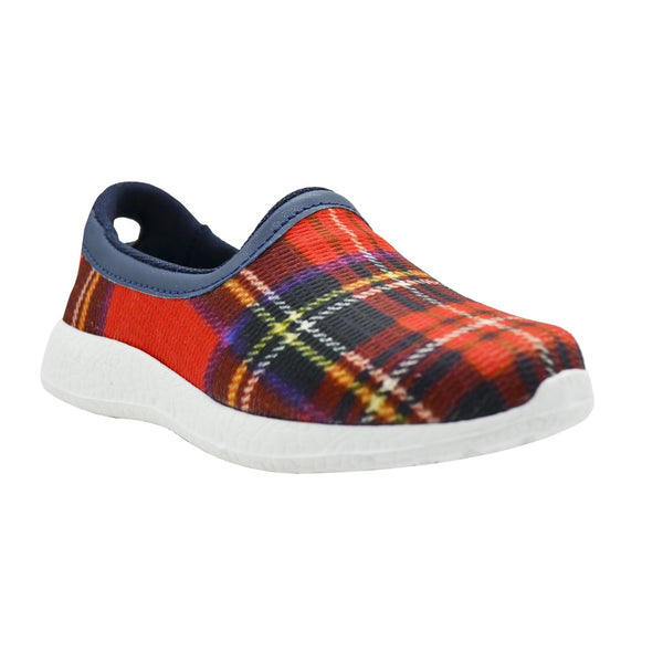 CHECKERED - RED - TWINNING - KazarMax Boy's & Girl's (Unisex) Red Navy Printed Slipon/Loafer/Sneaker/Ballerina Shoes