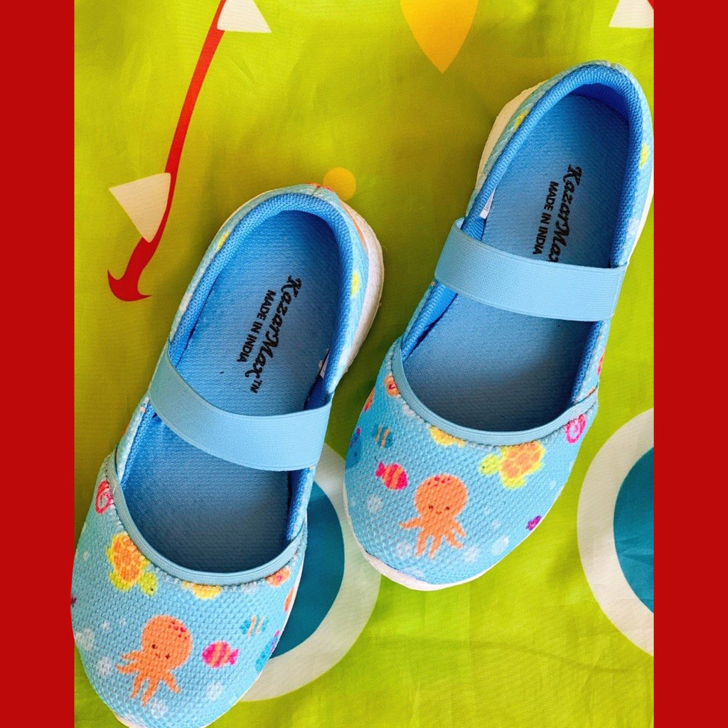 UNDERWATER DREAMS - KazarMax Girl's Memory Foam Blue Sea Life Printed Ballerina/Bellies/Slipon Shoes