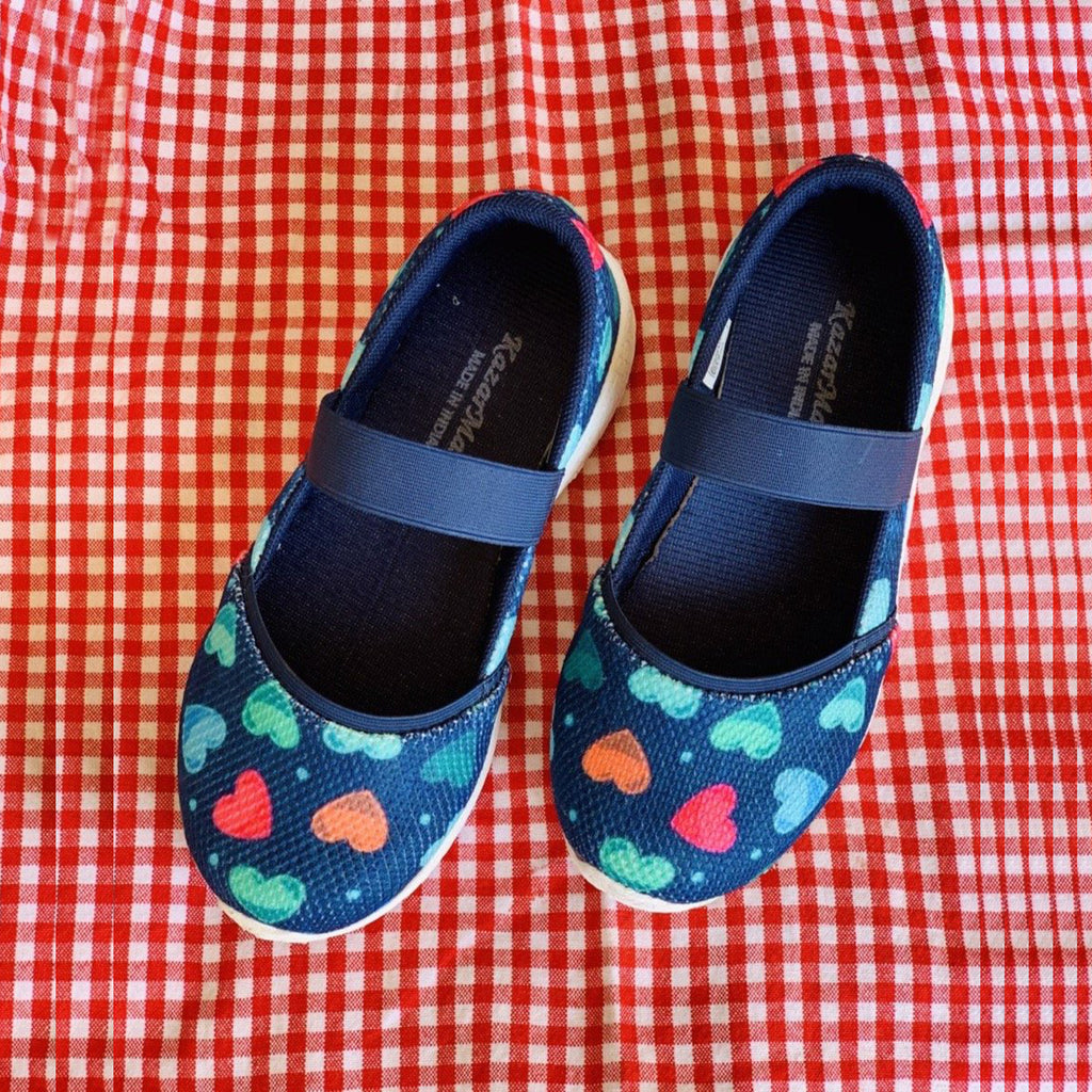 LOVE IS LOVE - KazarMax Girl's Memory Foam Navy Multicolour Hearts Printed Ballerina/Bellies/Slipon Shoes