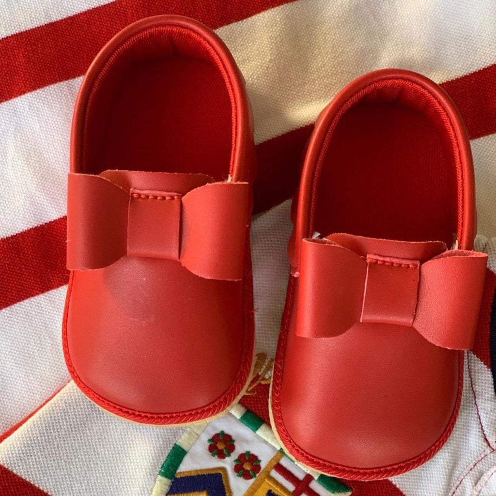 CARMINE TOOTSIES - KazarMax Anti-Skid Breathable Soft Comfortable Red Bow Applique New Born Baby Boy & Girl Shoes/Booties