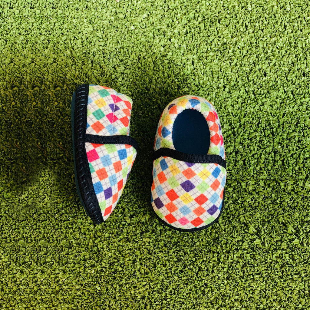 CHECKERED MOCC TOOTSIES - KazarMax Anti-Skid Breathable Soft Comfortable Blue Multicolour New Born Baby Boy Mocassin Shoes/Booties