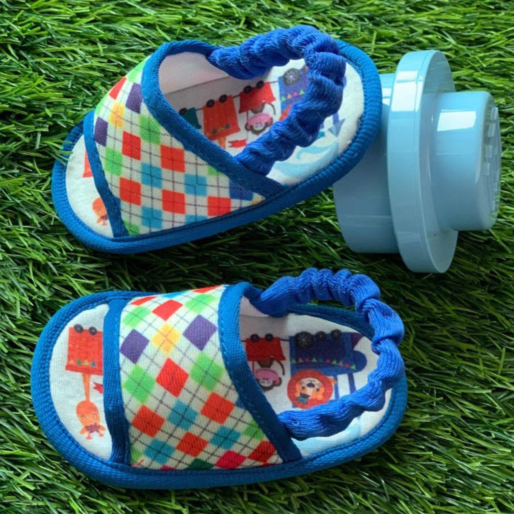 CHECKERED SLINGBACK TOOTSIES - KazarMax Anti-Skid Breathable Soft Comfortable Blue White New Born Boy Baby Sandal Booties