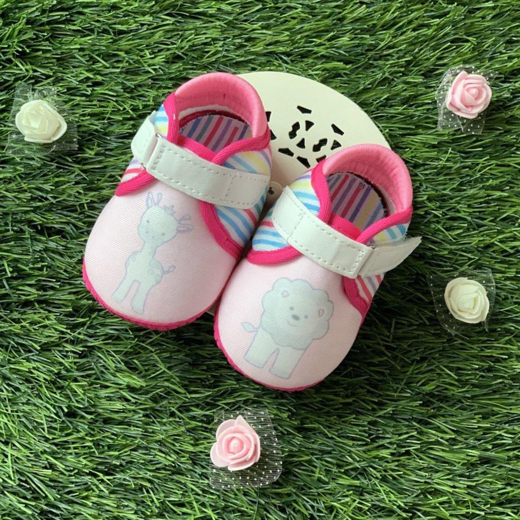 PINK MISS TOOTSIES - KazarMax Anti-Skid Breathable Soft Comfortable Pink Multicolour New Born Baby Girl Shoes/Booties