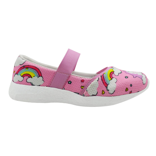 DREAMING OF RAINBOWS - KazarMax Girl's Memory Foam Pink Unicorn Printed Ballerina/Bellies/Slipon Shoes