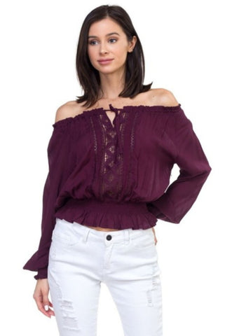 Genevieve Off The Shoulder Blouse Plum