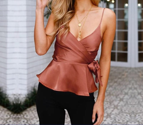 Elegant Wrap Camisole Top - Couture Couldn't