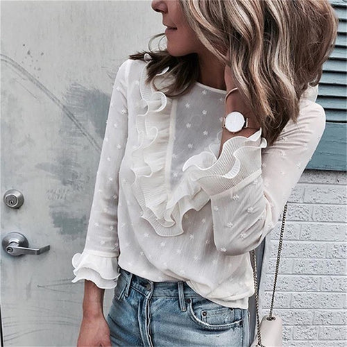Ruffled Polka Dot Blouse - Couture Couldn't