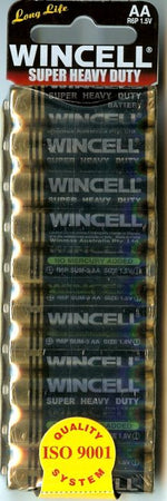 Wincell Super Heavy Duty AA Shrink 10Pk Battery