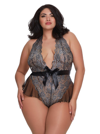 Metallic Stretch Lace Teddy - Q