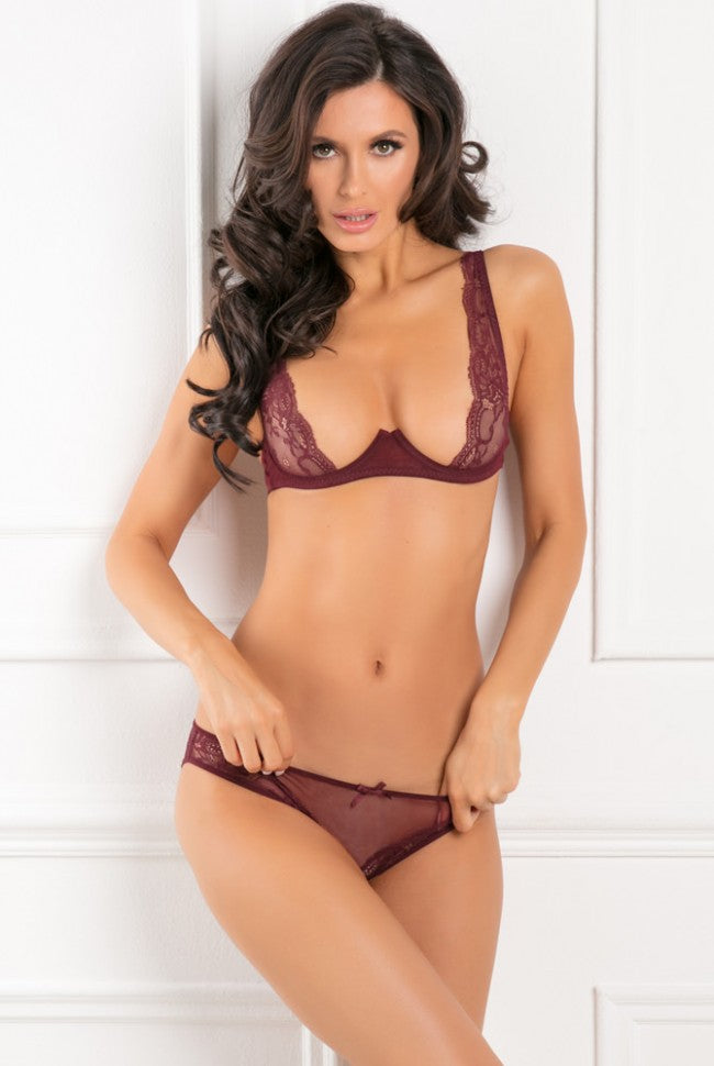 With Love Half Cup Bra & Crotchless Panty - Burgundy