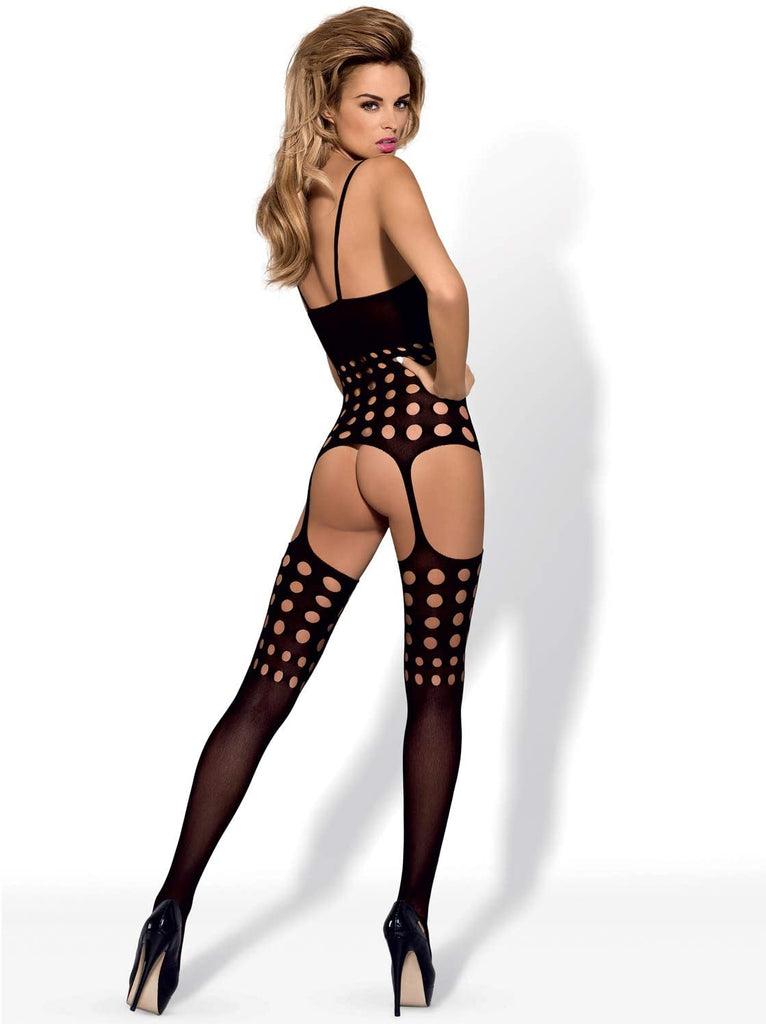 Suspender Bodystocking - Black