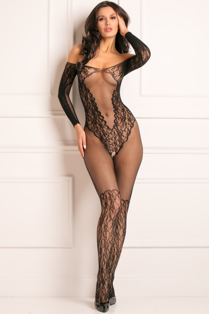 Make You Melt Crotchless Bodystocking - Black