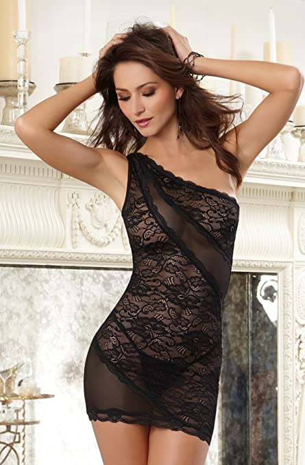 Asymmetrical Lace Chemise & Thong - Black