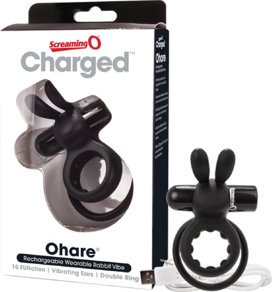 Ohare Rabbit Double Vibrating Cock Ring (Black)