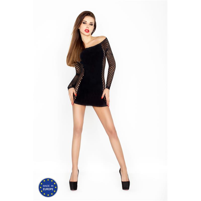 Mini Dress With Mesh Sleeves and Sides - Black