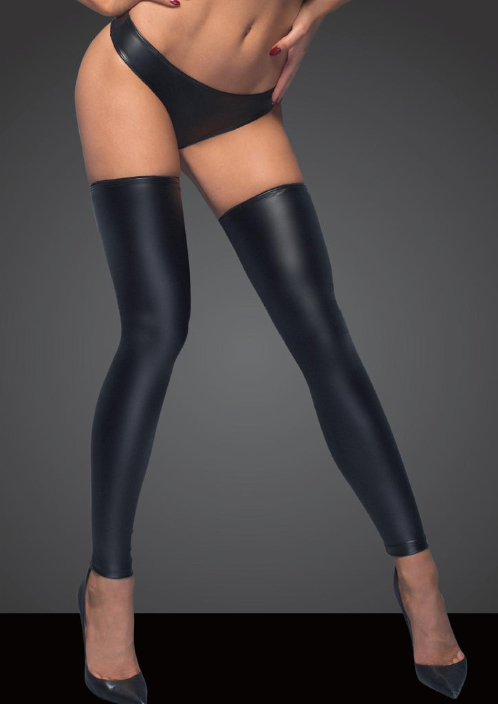Power Wet Look Stockings And Panties With Silver Zipper - Black