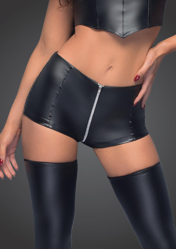 High Waist Power Wet Look Shorts With Zipper - Black