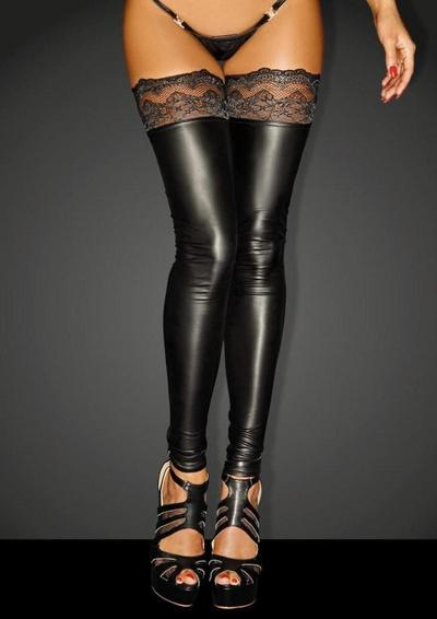 Power Wet Look Thigh High Stockings With Silicone Lace - Black