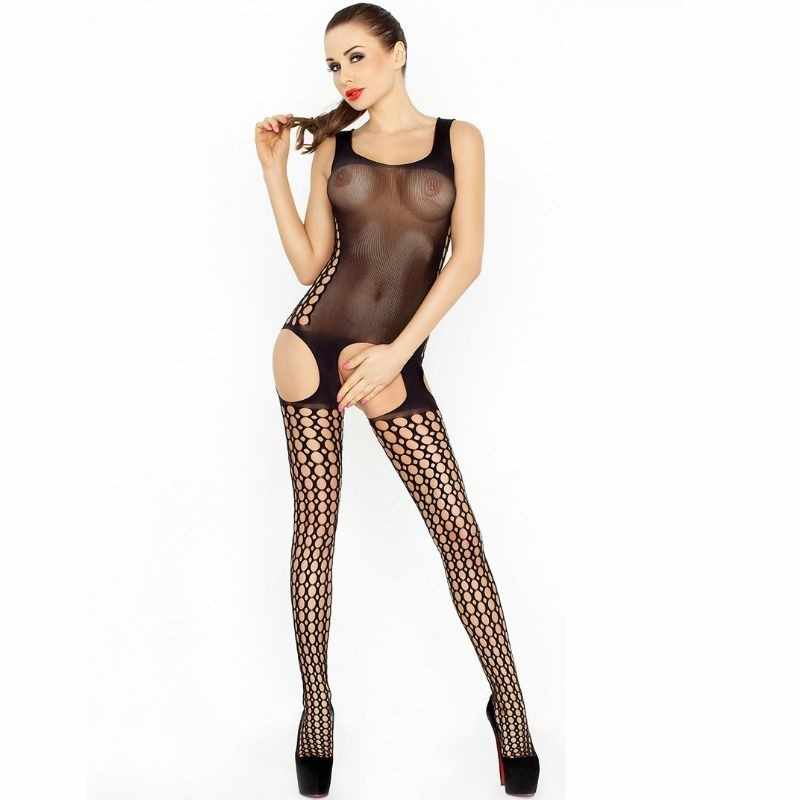 Sheer Suspender Bodystocking - Black