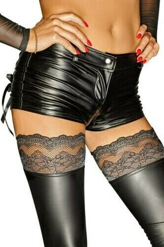 Power Wetlook Shorts With 2 Way Zipper Back Pockets - Black