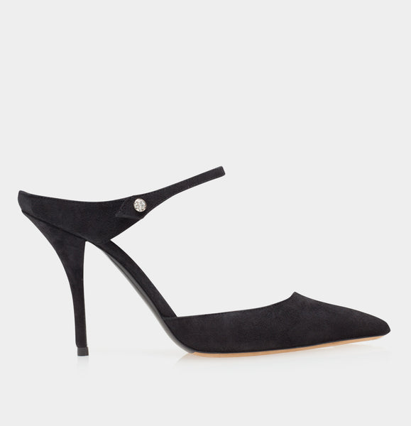 Allie Black Kidsuede Pointed Toe Mule