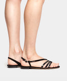 Betty Black Kidsuede Flat Sandal w/Sequin Straps