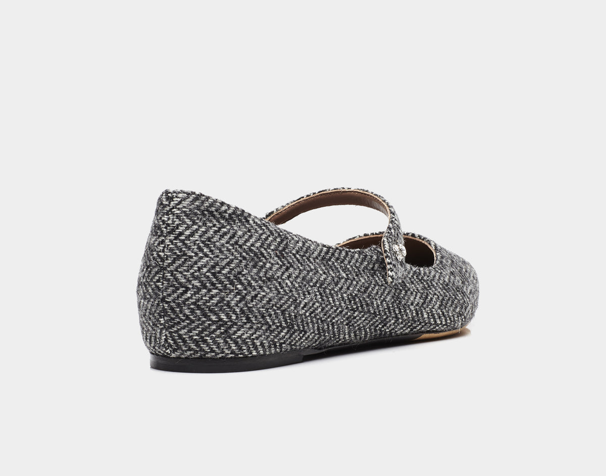 Hermione Grey Tweed Pointed Flat Mary Jane Tabitha Simmons