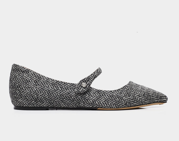 Hermione Grey Tweed Pointed Flat Mary Jane