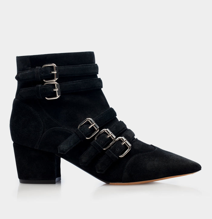 CHRISTY BLACK SPLIT SUEDE