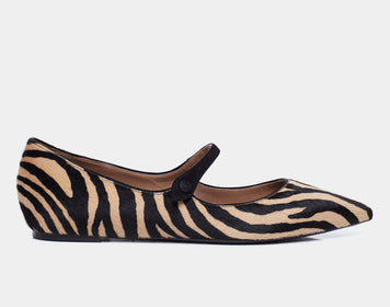 HERMIONE ZEBRA POINTED FLAT MARY JANE