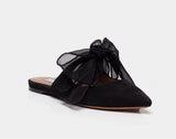 Aida Black Kidsuede Pointed Toe Slide by Tabitha Simmons