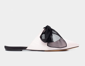 Aida Pale Pink Moire Pointed Toe Slide