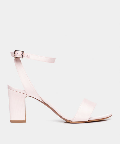 Leticia Pale Pink Moire Block Heel