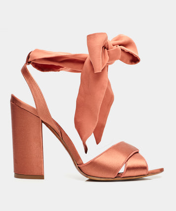 Connie Wrap Burnt Umber Block Heel Sandal