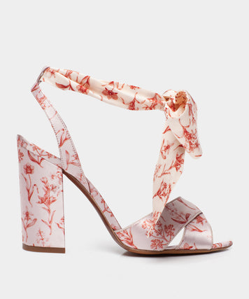 Connie Wrap Ecru Block Heel Sandal